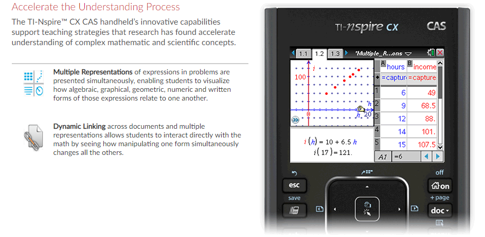 TI-Nspire CX CAS Handheld Graphing Calculator - Numerical